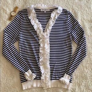 Anne Fontaine Blue White Striped Ruffle Sweater